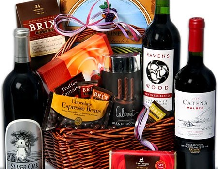 Red Wine and Dark Chocolate Real Estate Client Buyer Gift Basket