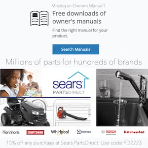 Sears Parts Direct  - Free Owners Manual Downloads and 10% OFF Promo Code