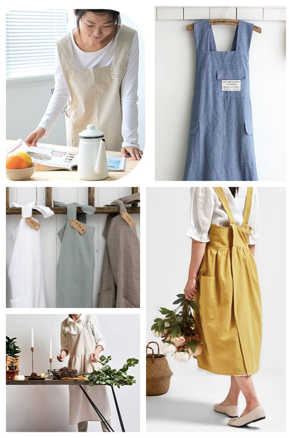 Japanese Style Cross Back Aprons Make Women's Housewarming Gifts