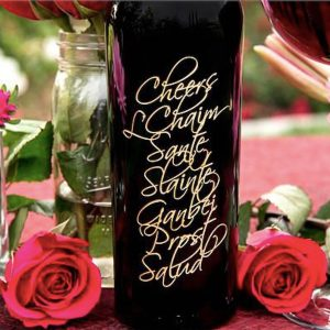 Cheers Etched Wine Bottles