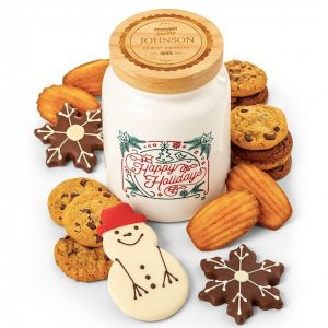 Personalized Happy Holidays Cookie Jar and Cookies
