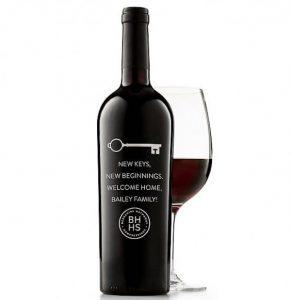 New Beginnings Engraved Wine Bottle Realtor Closing Housewarming Gift