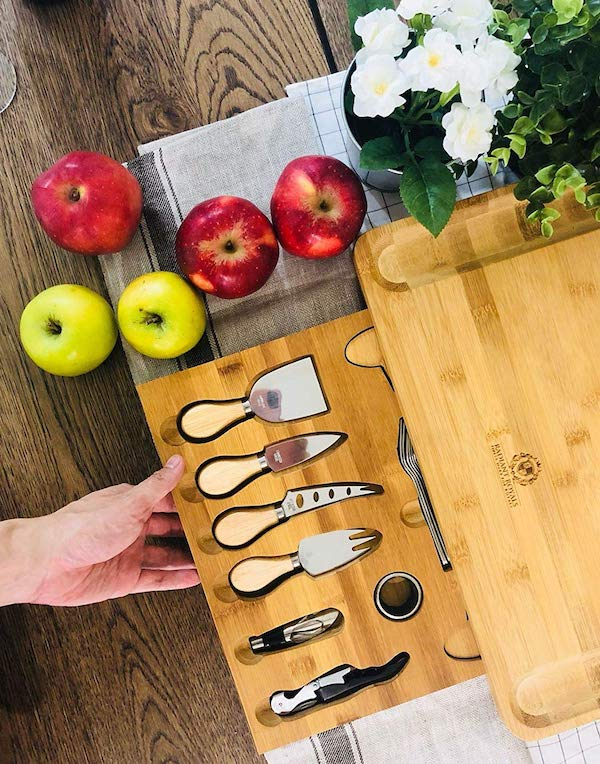 Extra Large Cheese Plate Board with Hidden Magnetic Cheese Knife Drawer