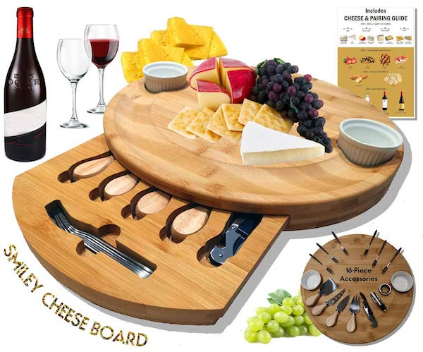 Extra Large Round Cheese Board Set with Hidden Drawer Realtor Housewarming Gift
