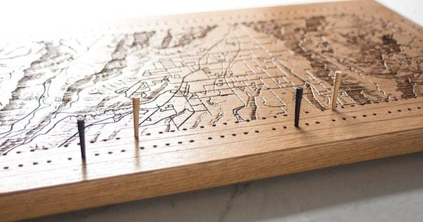 Cribbage Board with a Map of Your Favorite City Housewarming Realtor Closing Gift