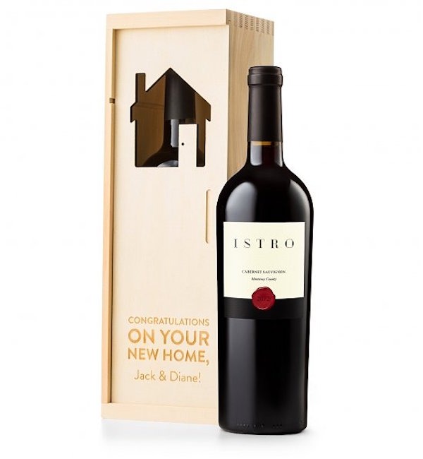 Housewarming Engraved Wine Crate Realtor Closing Gift for Him