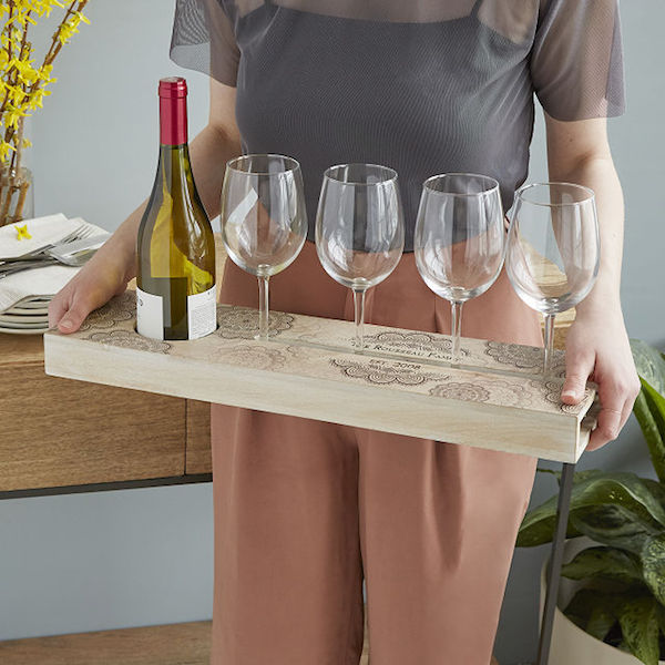 Personalized Wine Serving Tray Housewarming Realestate Gift