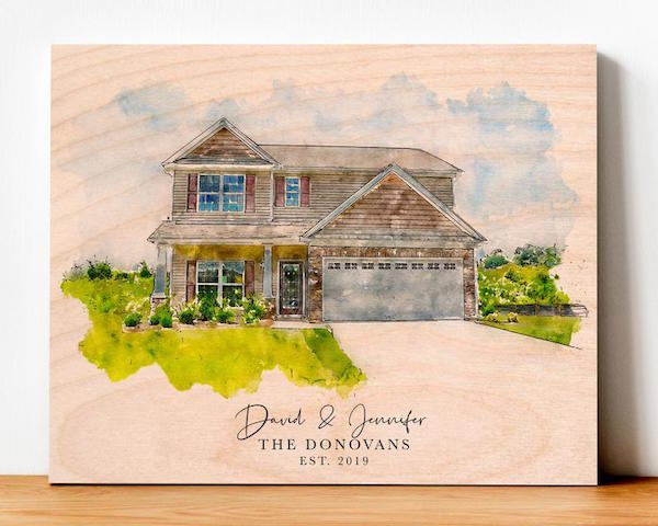 Watercolor House Print On Wood