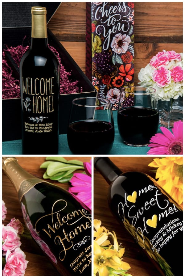 Welcome Home Etched Wine Housewarming Realtor Closing Gifts
