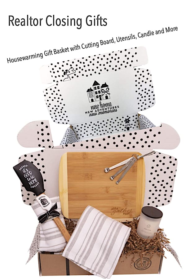 Realtor Closing Housewarming New Home Gift Box with Cutting Board, Utensils, Candle and More