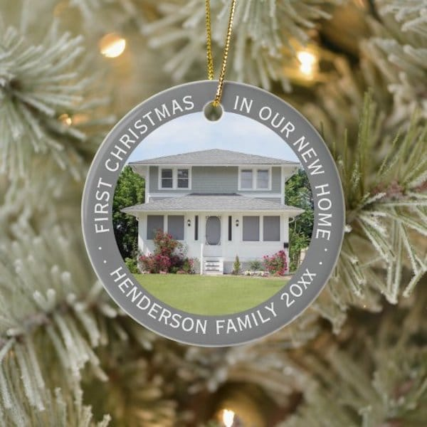 Custom House Photo First Christmas Ceramic Ornament Realtor Closing Gifts